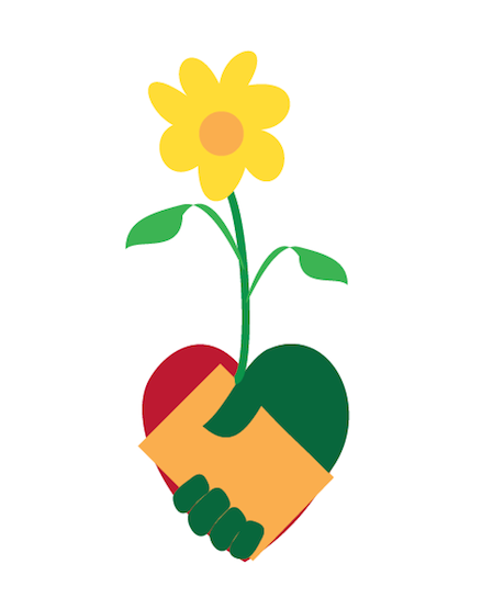 a flower grows from a heart