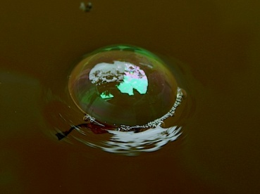 a bubble floats on muddy water