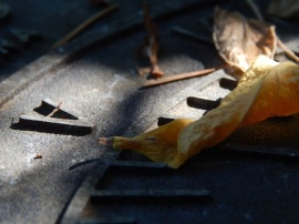 a leaf on a sundial © Cristi Jenkins