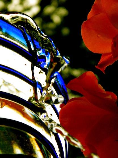 water falls over vase