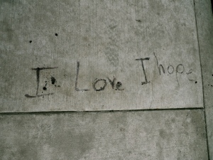 a concrete slab with the words I love, I hope