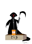 the grim reaper stands over a pill bottle sitting in a coffin © Cristi Jenkins Creations