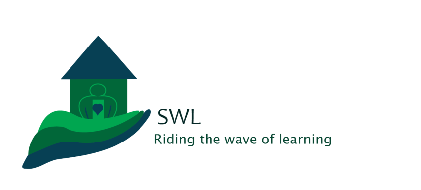 logo a school in a hand-like wave