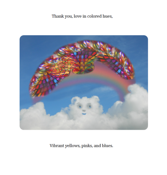a cloud bear juggles a rainbow