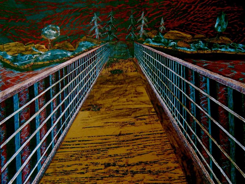 a bridge crosses a stream
